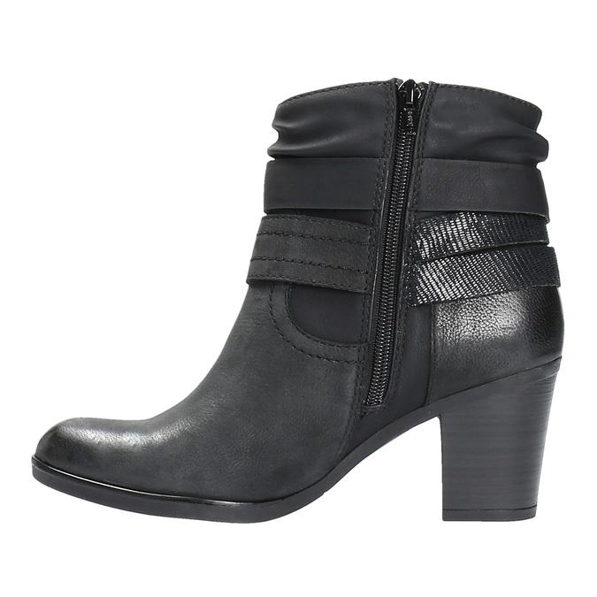 Kožené kotníčkové kozačky ve Western stylu bata, černá, 696-6610 - 26