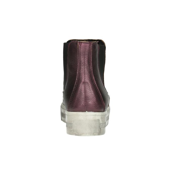 Kožená kotníčková obuv na široké podešvi bata, fialová, 596-5625 - 17