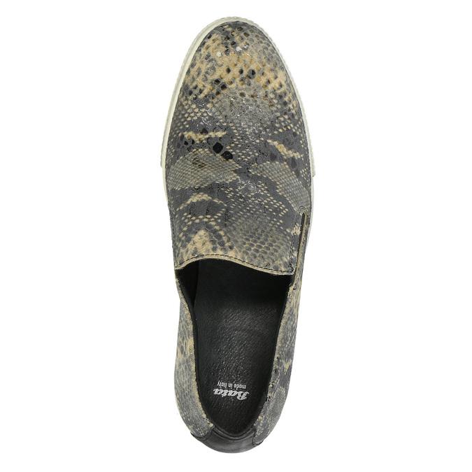 Kožené Slip-on s hadím vzorem bata, šedá, 526-2606 - 19
