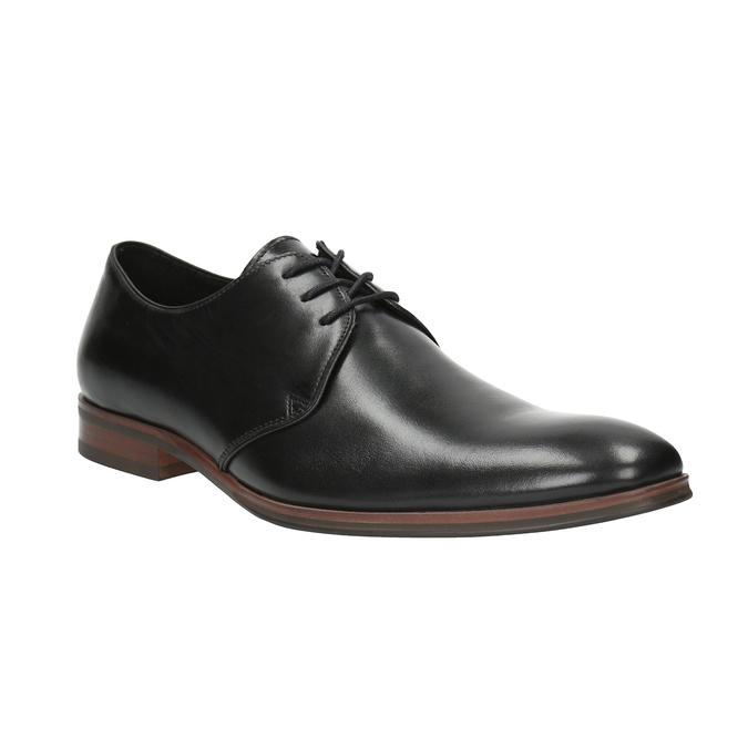 Černé kožené polobotky s ležérní podešví bata, černá, 824-6679 - 13