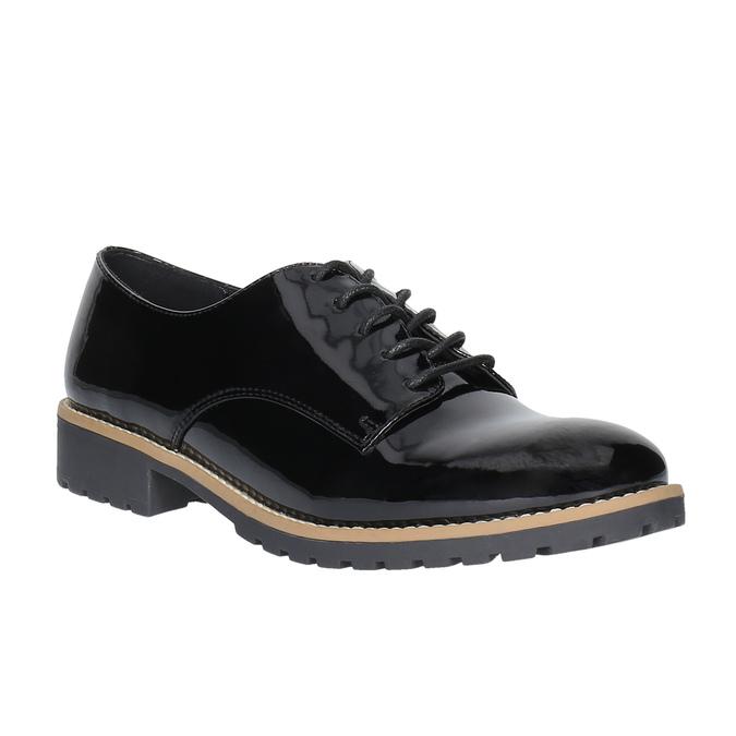 Lakované polobotky na výrazné podešvi bata, černá, 521-6600 - 13