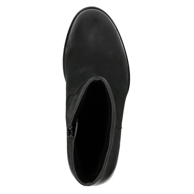 Kožená kotníčková obuv na širokém podpatku bata, černá, 696-6612 - 19