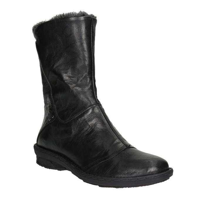 Kožená kotníčková obuv se zateplením bata, černá, 596-6624 - 13