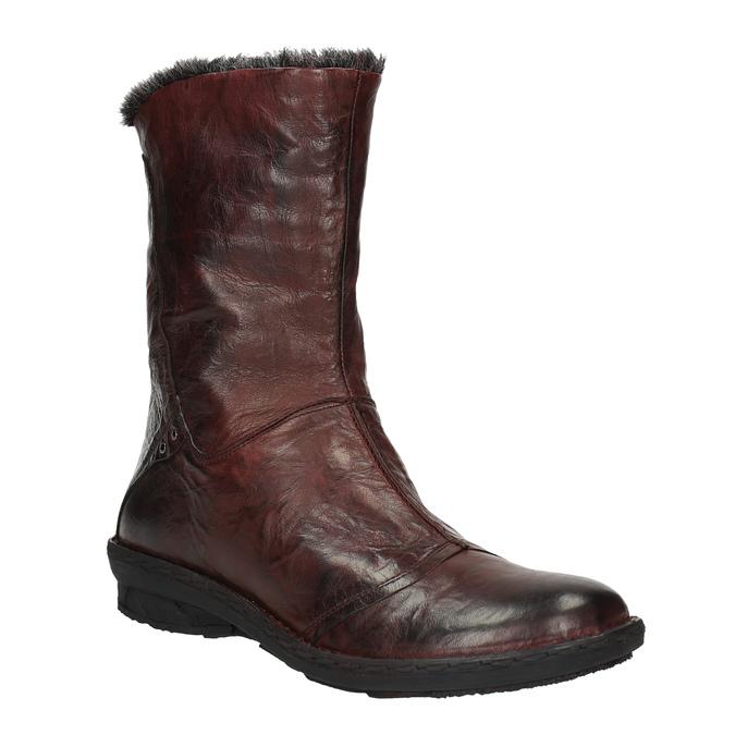 Dámská kožená obuv se zateplením bata, červená, 596-5624 - 13