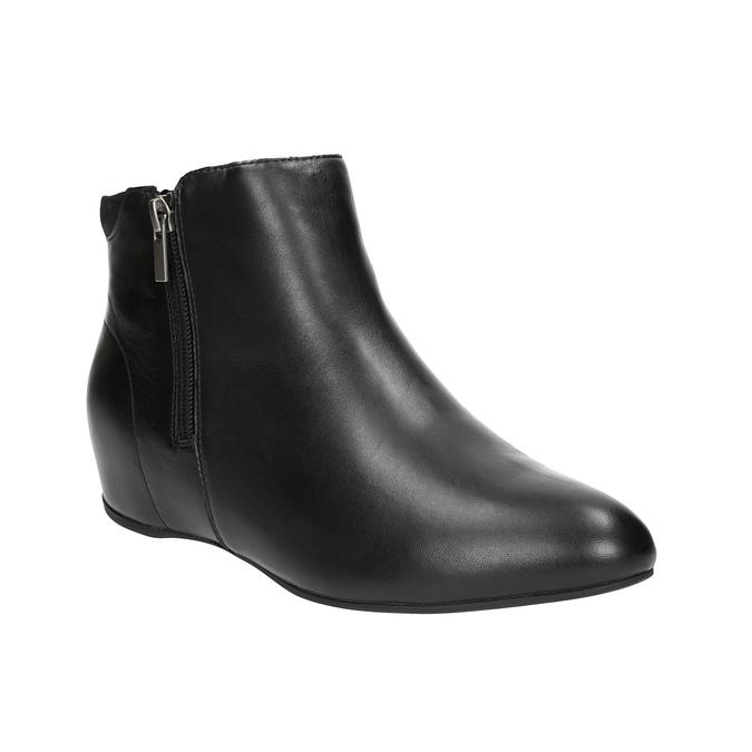 Kožená kotníčková obuv na klínovém podpatku rockport, černá, 614-6003 - 13