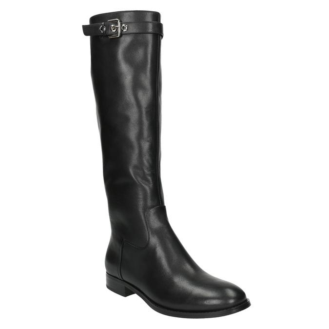 Dámské kožené kozačky se sponou bata, černá, 596-6630 - 13