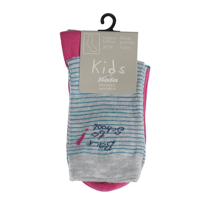 Dětské barevné ponožky 3 páry bata, 919-0495 - 13