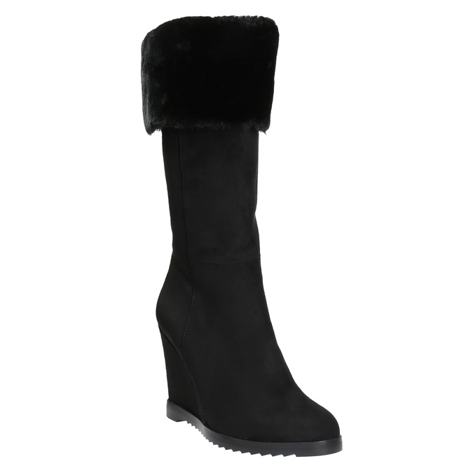 Kozačky na klínovém podpatku s chlupatým lemem bata, černá, 799-6630 - 13