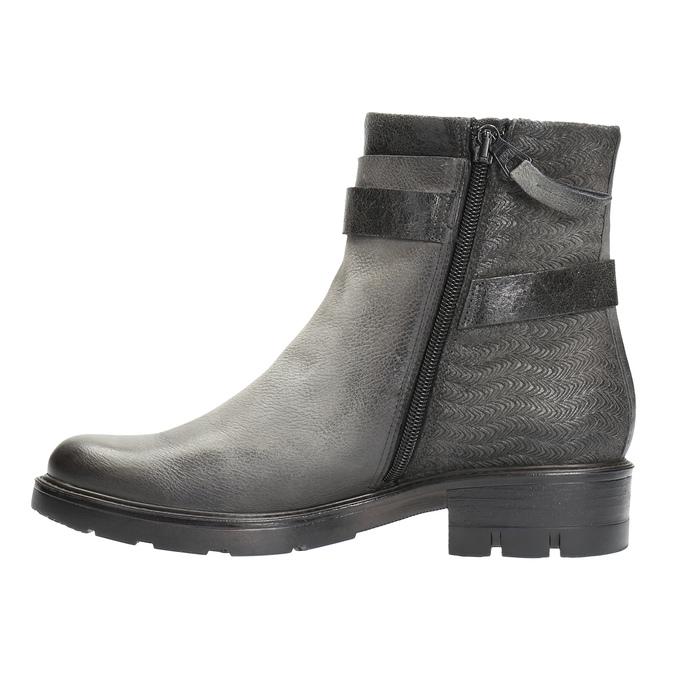 Kožená kotníčková obuv s metalickými prvky bata, šedá, 596-2619 - 26