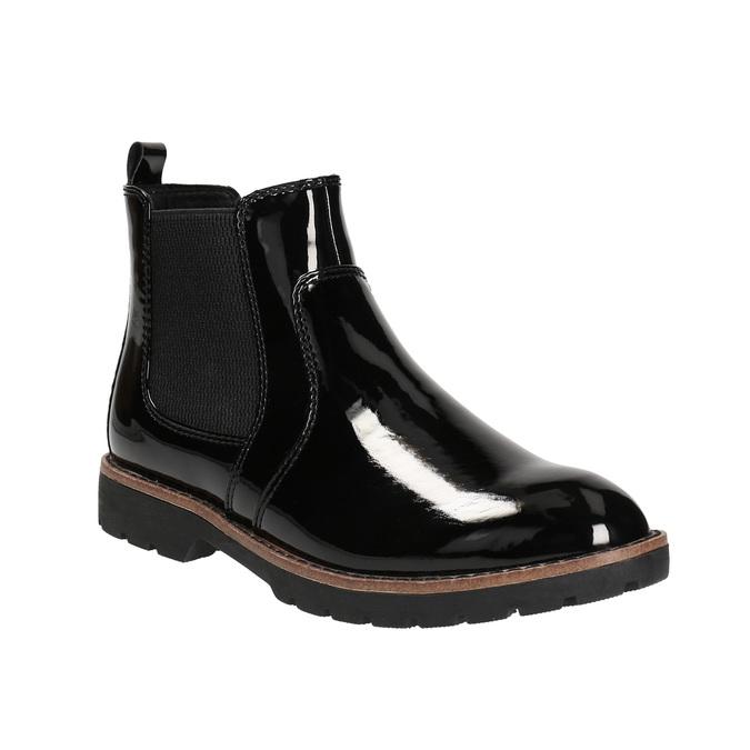 Lakované Chelsea Boots na výrazné podešvi bata, černá, 591-6603 - 13