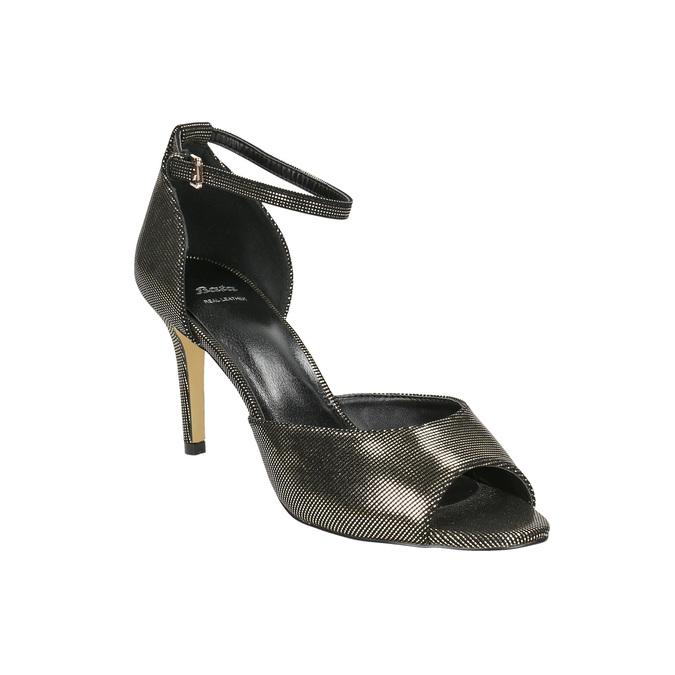 Sandály na jehlovém podpatku se zlatými odlesky bata, černá, 729-8630 - 13