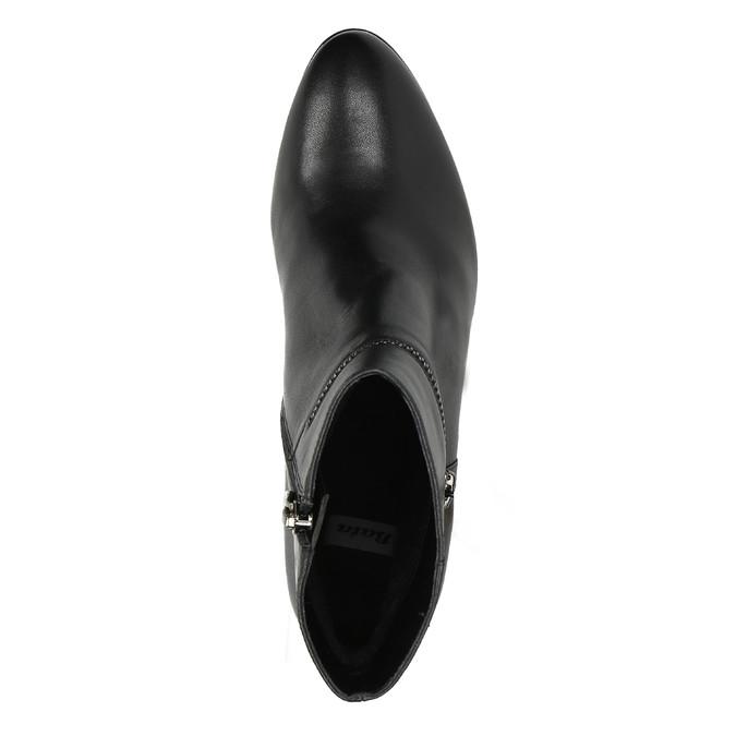 Kožená kotníčková obuv na podpatku bata, černá, 694-6632 - 19