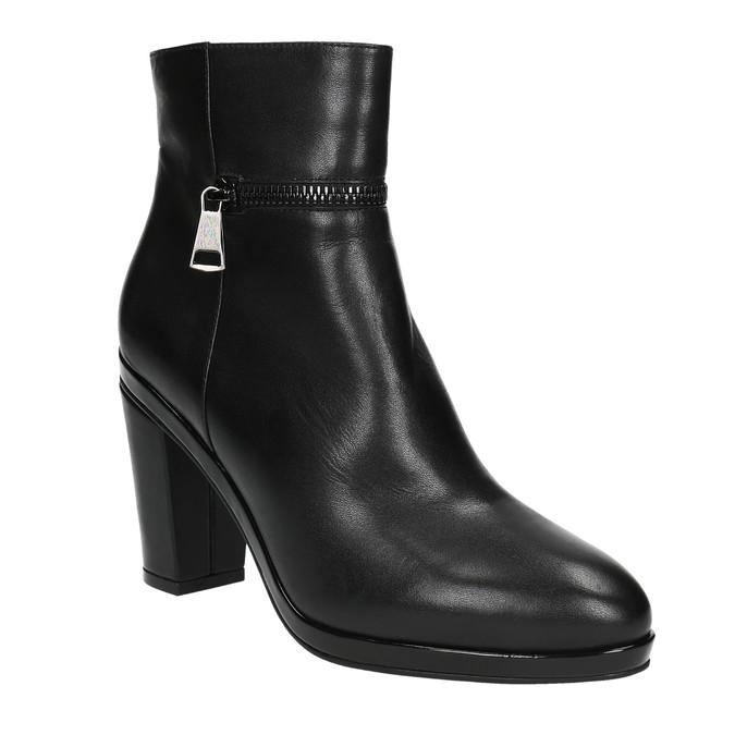Kožená kotníčková obuv na podpatku bata, černá, 694-6632 - 13