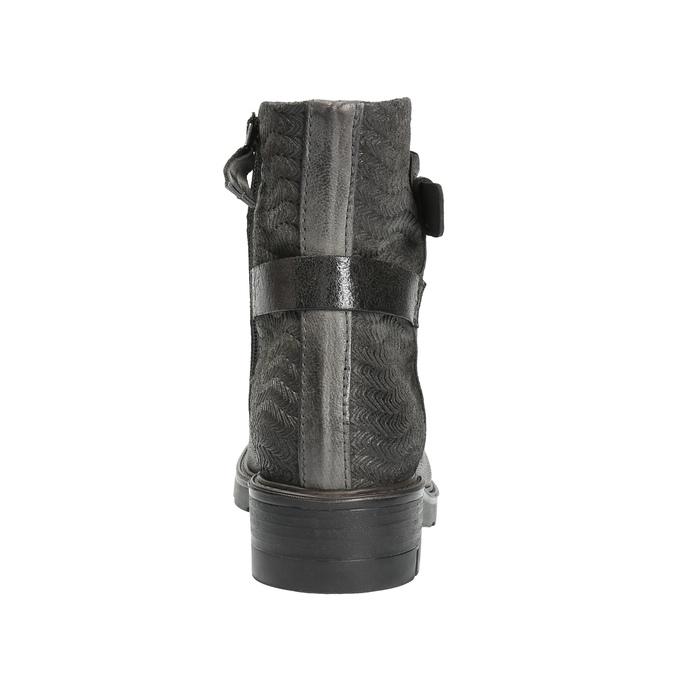 Kožená kotníčková obuv s metalickými prvky bata, šedá, 596-2619 - 17