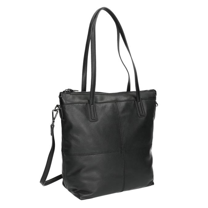 Kožená kabelka s odnímatelným popruhem bata, černá, 964-6234 - 13