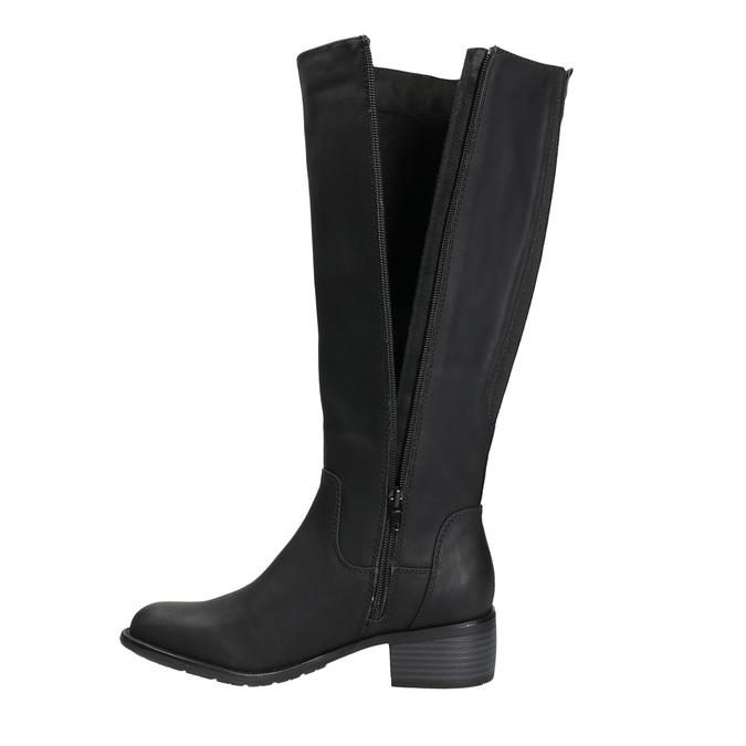 Dámské kozačky na nízkém podpatku bata, černá, 691-6600 - 26