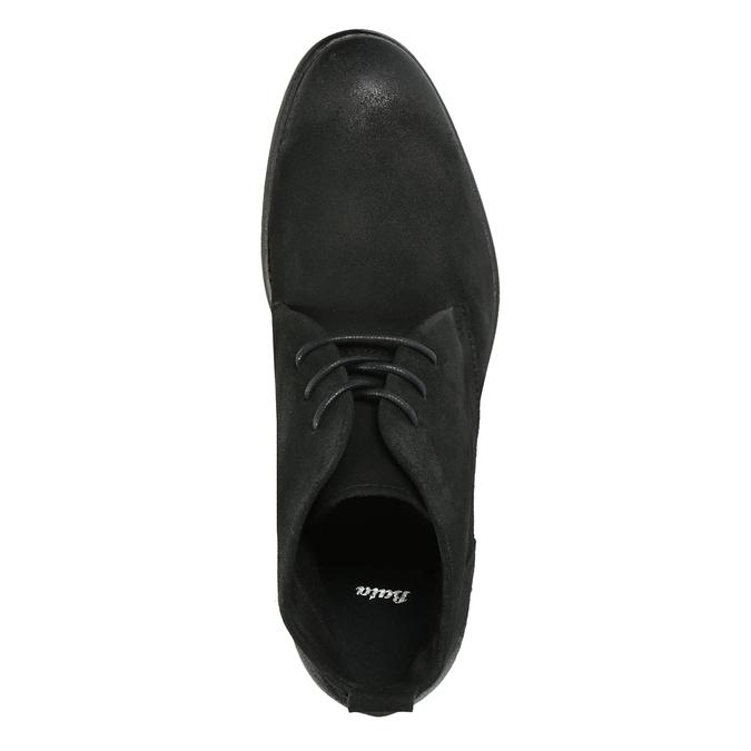 Kotníčková obuv z broušené kůže bata, černá, 846-9611 - 19
