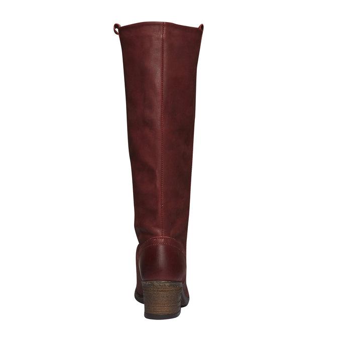 Kožené kozačky bez zipu bata, červená, 596-5106 - 17