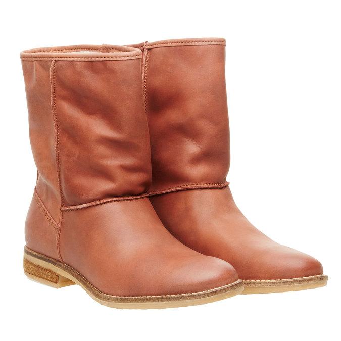 Kožená kotníčková obuv bata, hnědá, 596-4105 - 26