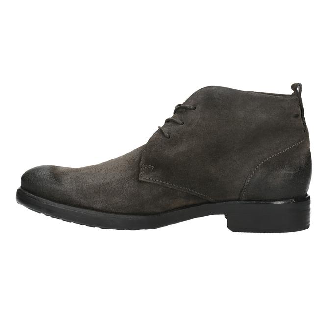 Kotníčková obuv z broušené kůže bata, šedá, 846-6611 - 26