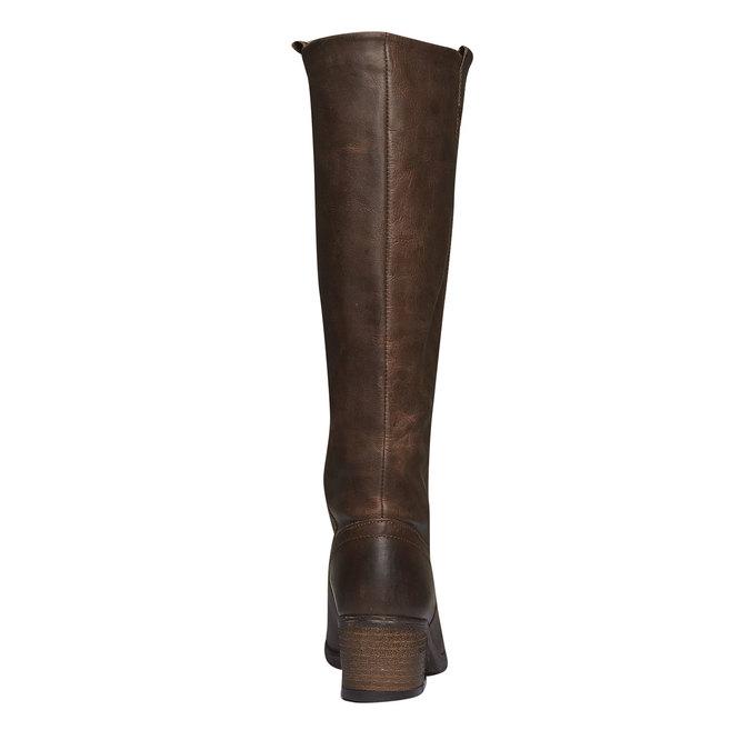 Kožené kozačky bez zipu bata, hnědá, 596-4106 - 17