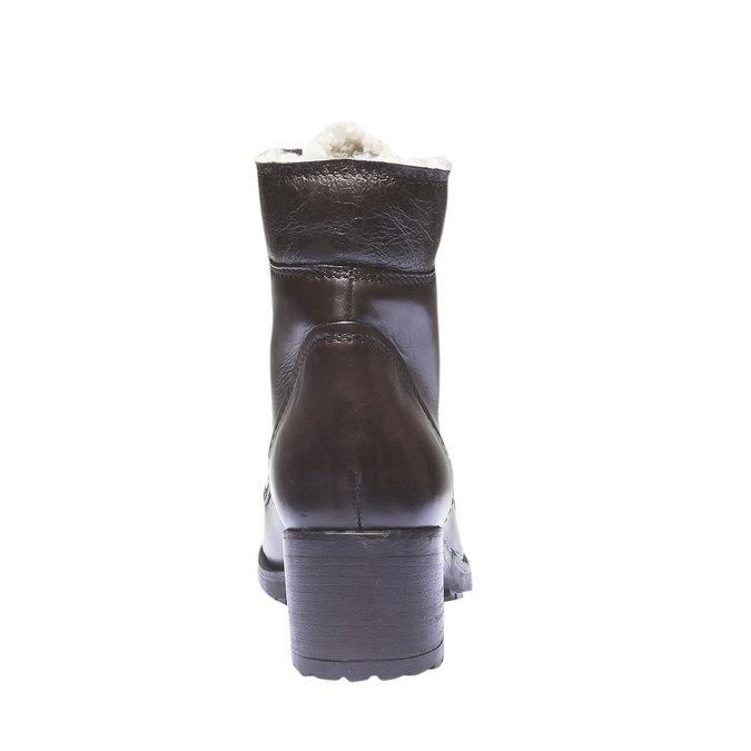 Kožené šněrovací boty se zateplením bata, hnědá, 694-4100 - 17