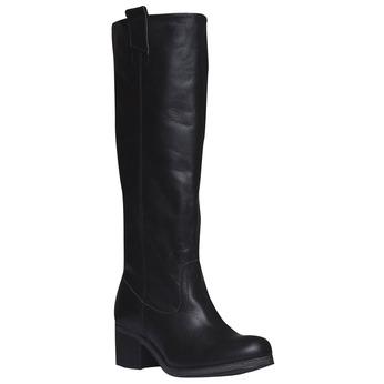 Kožené kozačky bez zipu bata, černá, 596-6106 - 13