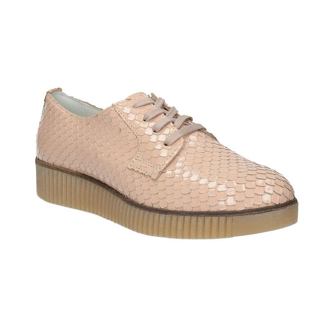 Dámské kožené polobotky bata, růžová, 526-5613 - 13