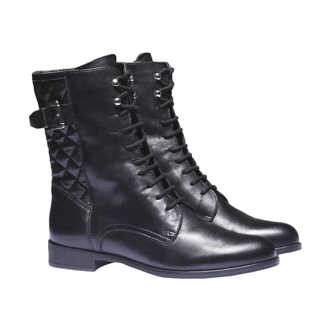Kožená kotníčková obuv s prošitím bata, černá, 594-6160 - 26