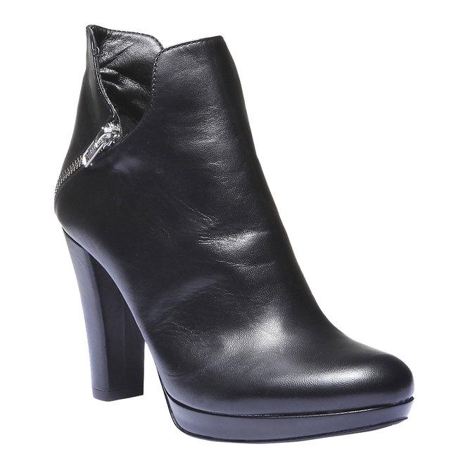 Kožené kotníkové kozačky na podpatku bata, černá, 794-6601 - 13