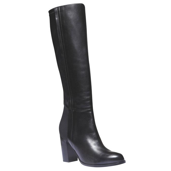 Kožené kozačky na podpatku bata, černá, 794-6604 - 13