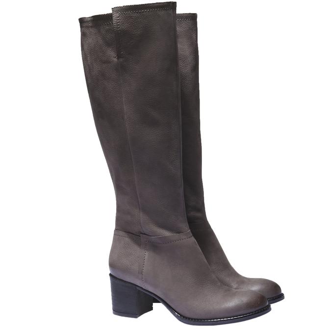 Kožené kozačky bata, šedá, 696-3100 - 26