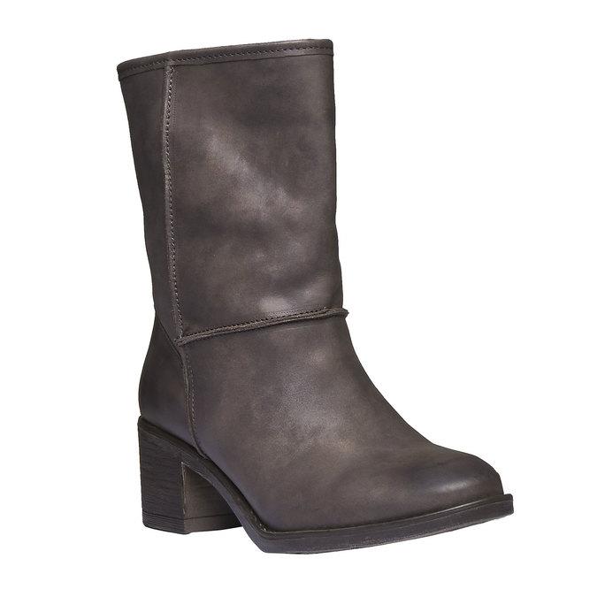 Kožené kozačky s kožíškem bata, černá, 696-6109 - 13