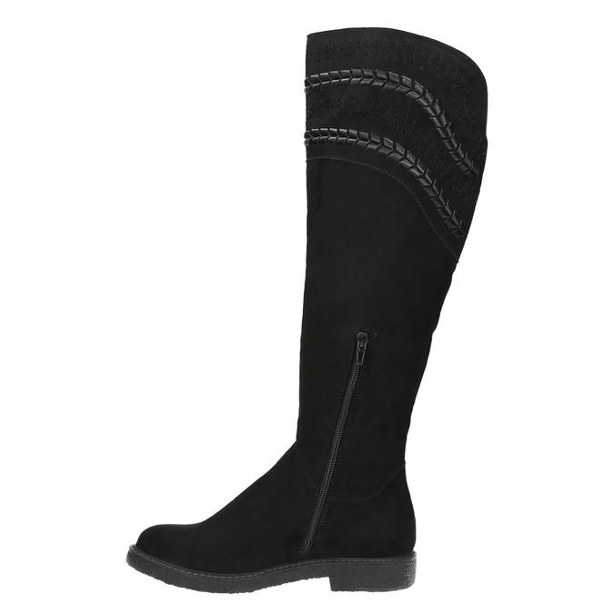 Dámské kozačky nad kolena černé bata, černá, 599-6602 - 19