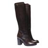 Kožené kozačky na podpatku bata, hnědá, 794-4106 - 26