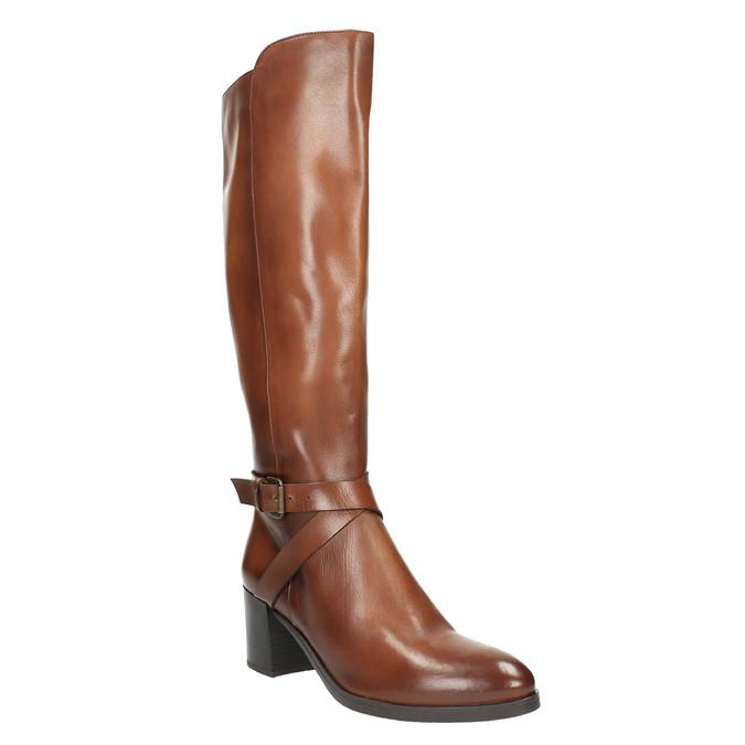 Kožené kozačky na stabilním podpatku bata, hnědá, 696-4615 - 13