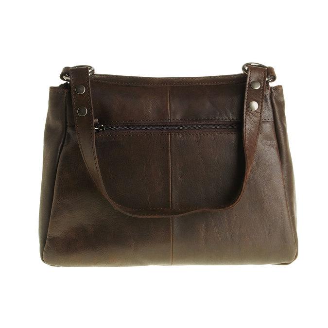 Kožená kabelka s klopou bata, hnědá, 964-4133 - 26