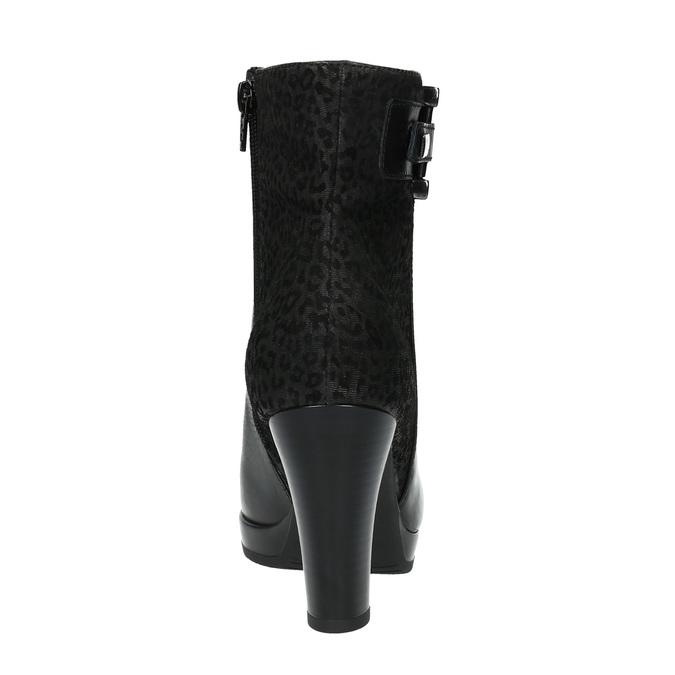Kotníčková obuv s leopardím vzorem bata, černá, 796-6610 - 17