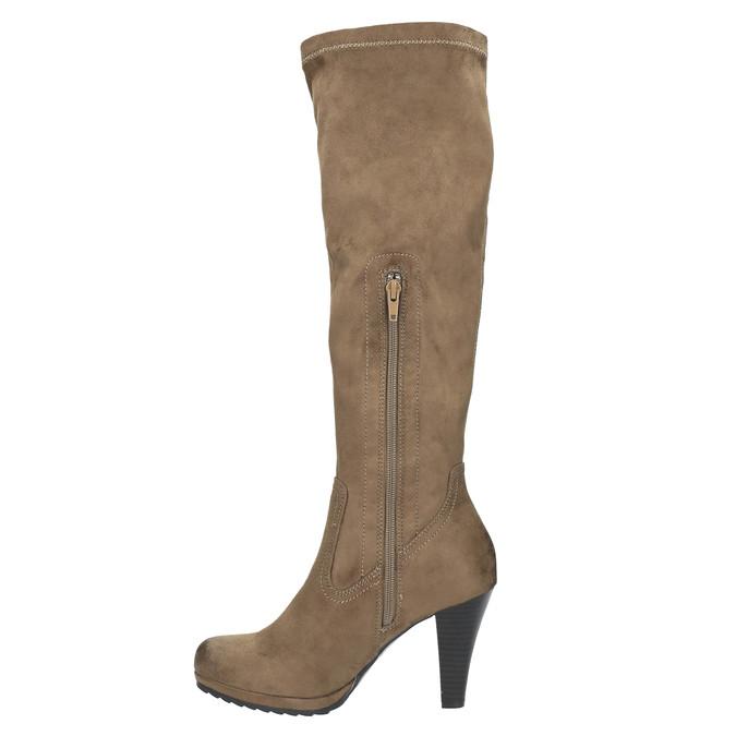 Dámské kozačky na podpatku bata, béžová, 799-2602 - 19