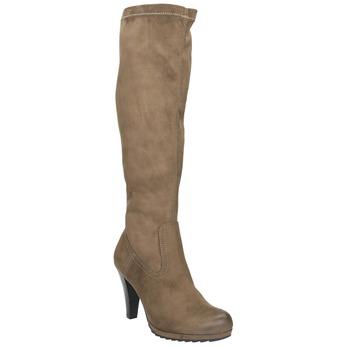 Dámské kozačky na podpatku bata, béžová, 799-2602 - 13