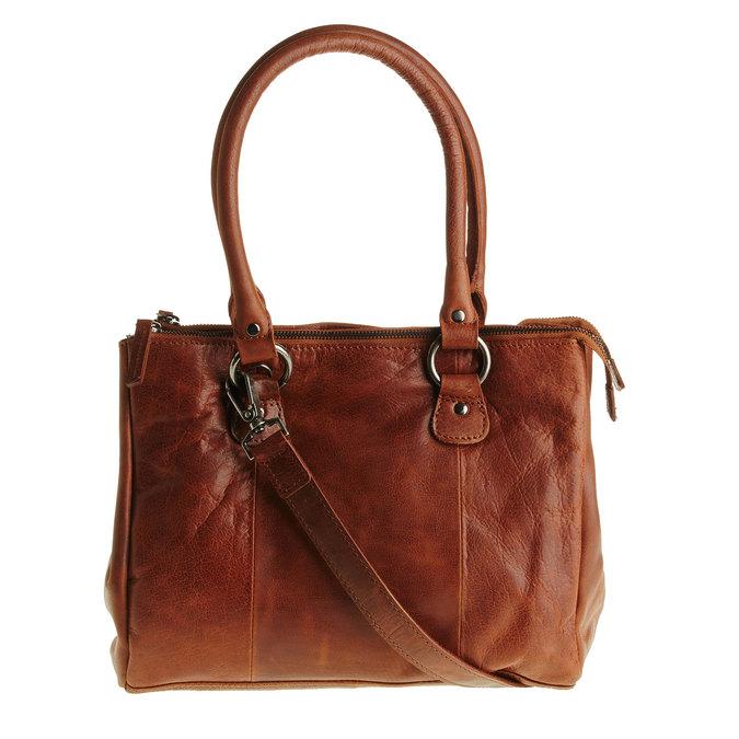 Kožená kabelka s odnímatelným popruhem bata, hnědá, 964-3123 - 26