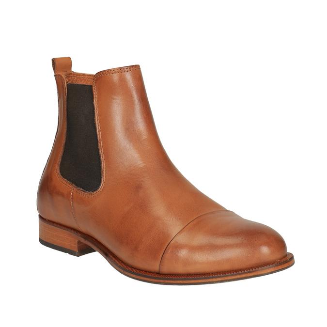 Kožená kotníčková obuv s pružnými boky ten-points, hnědá, 516-3003 - 13