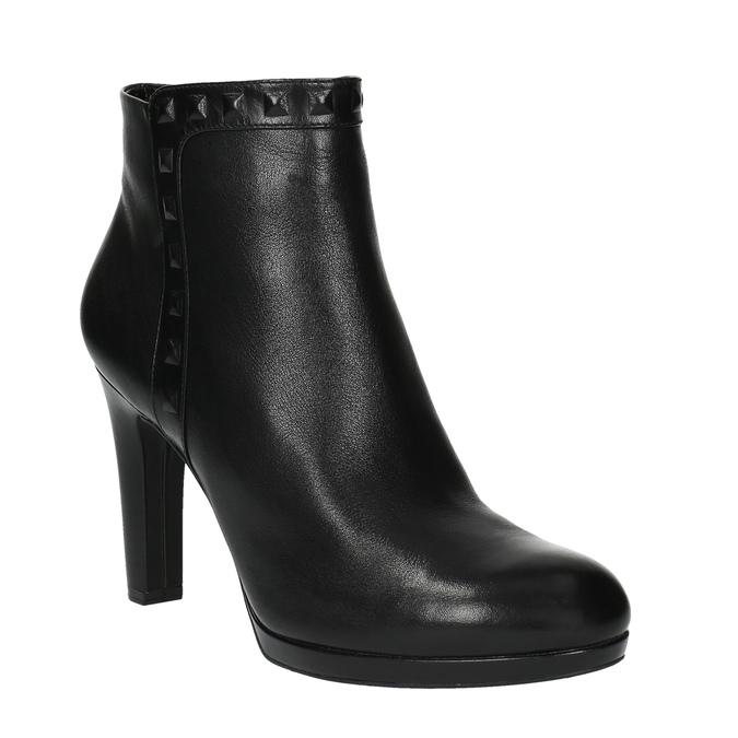 Kožená kotníčková obuv na podpatku rockport, černá, 714-6106 - 13