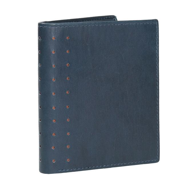 Kožená peněženka s perforací bata, modrá, 944-9175 - 13