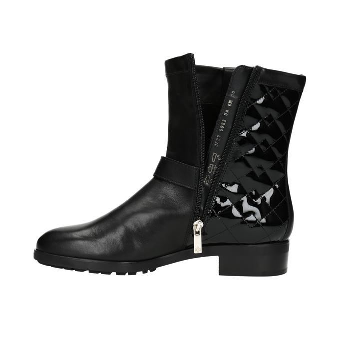 Kožená kotníčková obuv s prošíváním hogl, černá, 694-6012 - 19