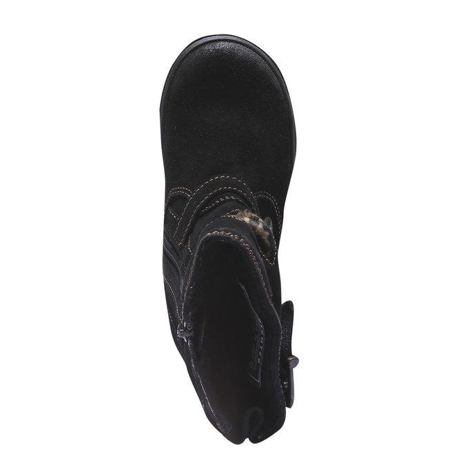 Dívčí kožené kozačky richter, černá, 393-6008 - 19