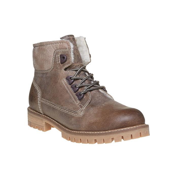 Dámská kožená zimní obuv weinbrenner, hnědá, 594-8491 - 13