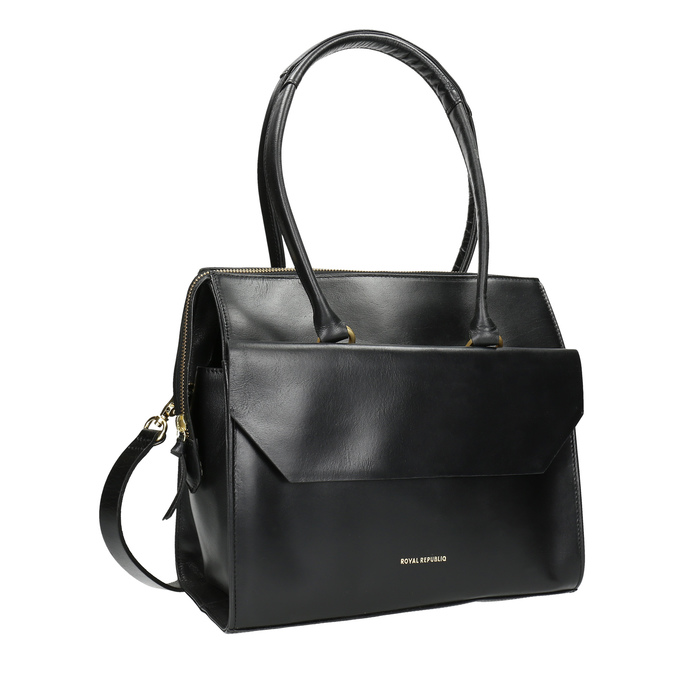 Kožená kabelka s odnímatelným popruhem royal-republiq, černá, 964-6018 - 13