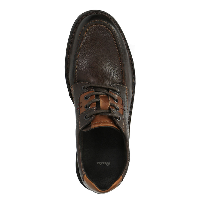 Kožené ležérní polobotky na výrazné podešvi bata, hnědá, 824-4696 - 19