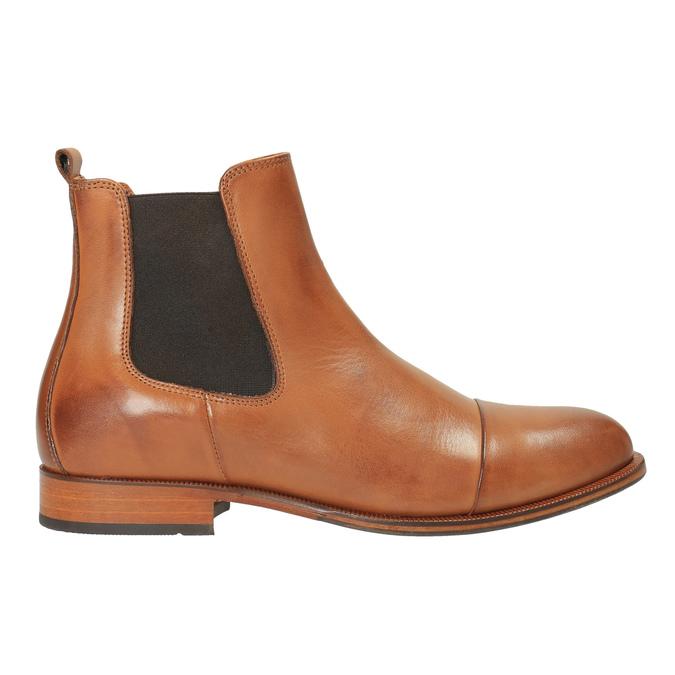 Kožená kotníčková obuv s pružnými boky ten-points, hnědá, 516-3003 - 15